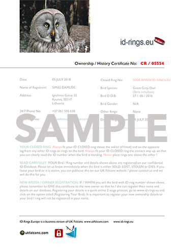 ID Split Ring and Registration Certificate